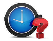 Red Question Mark with Alarm Clock Stock Images