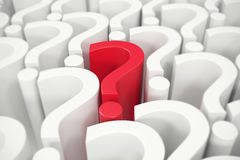 Red question mark in the center, questions the concept. 3d rendering vector illustration
