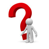 Red Question mark. 3d small person with a red question mark on a white background Royalty Free Stock Photos