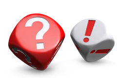 Red question mark dice and white exclamation mark dice Royalty Free Stock Photos