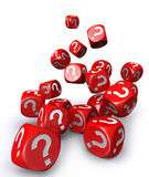 Red question mark dices falling down Stock Images