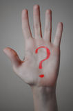 Red Question Mark on a Hand Royalty Free Stock Images