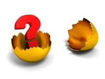 Red question mark inside cracked golden egg shell Stock Photography