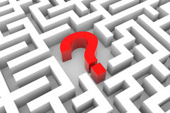 Red question mark inside white maze. Stock Image