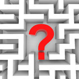 Red question mark inside white maze. Royalty Free Stock Image