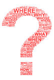 Red question mark from questions. Royalty Free Stock Image