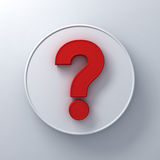 Red question mark on round white signboard background abstract with shadow. 3D rendering Royalty Free Stock Photography