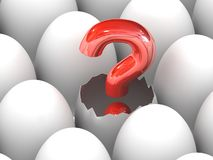 A red question mark sign hatching Royalty Free Stock Photo