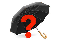 Red Question Mark under Umbrella. On a white background Stock Image