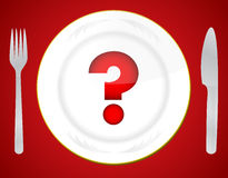 Red question mark on white plate Stock Images