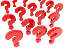 Red question marks on white background. In background stock illustration