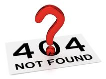 Red Question Point and Sheet (404 NOT FOUND) Royalty Free Stock Photos