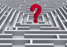 Red Question Symbol In Maze Royalty Free Stock Photo