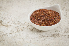 Red quinoa grain. Small ceramic bowl of  red quinoa grain against a ceramic tile background with a copy space Stock Images
