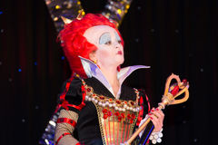 Red qween from Alice in Wonderland. Theatre performance Dnipropetrovsk, May 2014 stock photo