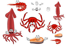 Red rab, shrimp, salmon steak and squid Royalty Free Stock Image