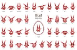 Red rabbits with narrow eyes set royalty free illustration