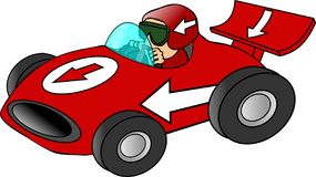 Red Race Car. This illustration depicts a red race car and driver Royalty Free Stock Photo