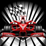 Formula 1 Red Race Car with Checkered Flag on Black Background Vector Illustration. Red Race Car, Formula 1 Sport Competition Car, high technology vehicle, with royalty free illustration