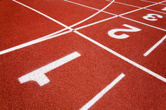 Red race for running. Red race track in an arena,High resolution stock photography