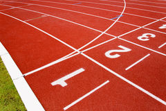 Red race for running. Red race track in an arena,High resolution stock image