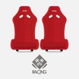 Red racing bucket seats in flat design. Garage logo. Stock Photo