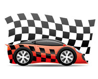 Red racing car. Red racing car and checkered flag on a white background Royalty Free Stock Photography