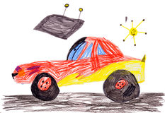 Red racing car. child's drawing Stock Photography