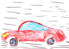 Red racing car. child's drawing Royalty Free Stock Photography