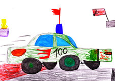 Red racing car. child's drawing Royalty Free Stock Images