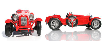 Red Racing Car Replica. Front And Side On Views Of A Replica Model Car Stock Images