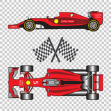 Red racing car. With sport flags isolated on checkered background. Top view and side view. Vector illustration Stock Image
