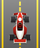 Red racing car. On the track, cartoon icon for games and applications Royalty Free Stock Image