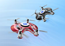 Red racing drones chasing in the sky Royalty Free Stock Photography