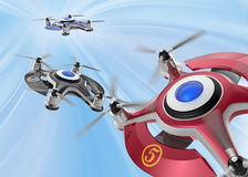 Red racing drones chasing in the sky Stock Image