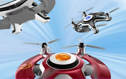 Red racing drones chasing in the sky Stock Images