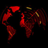 Red radar screen with map op the world. Red radar screen with integrated world map Royalty Free Stock Photos