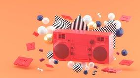 Red radio amidst colorful balls on an orange background. 3d render stock illustration