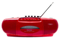 Red Radio Cassette Player. Portable Radio Cassette recorder ; isolated Royalty Free Stock Images