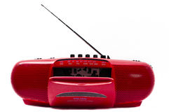 Red Radio Cassette Player. Portable Radio Cassette recorder ; isolated Royalty Free Stock Photography