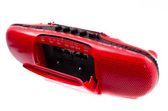 Red Radio Cassette Player. Portable Radio Cassette recorder ; isolated Stock Photo
