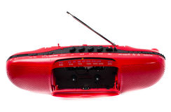 Red Radio Cassette Player. Portable Radio Cassette recorder ; isolated Royalty Free Stock Photo