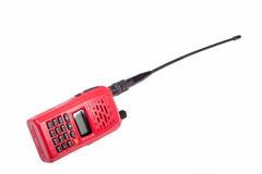 Red radio communication on white background Stock Photos
