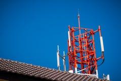 Red radio tower. Royalty Free Stock Photos