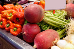 Red radish, eggplant, onion and red pepper. On the table market Stock Photos