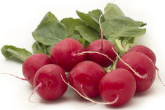 Red radish. Red organic radish on white background royalty free stock photo