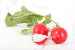 Red radish on white background. Healthy vegetables, close up Stock Photo
