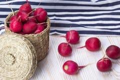 Red radishes in a basket. Red radishes in a basket on wooden desk Stock Image