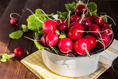 Red radishes in bowl on wooden table Royalty Free Stock Photos