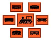 Red rail road icons set Royalty Free Stock Photo